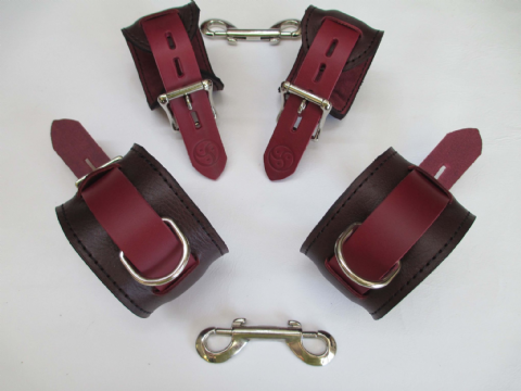 Oxblood African Kudu Leather 4 Piece Locking Restraint Cuffs Set (Wrist & Ankles)